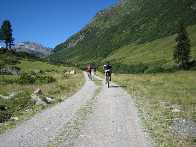 group of bikers touring in the mountains